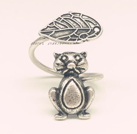 adjustable leaves and Persian tom cat ring ancient silver plated animal open rings for women fashion jewelry animals lover gift