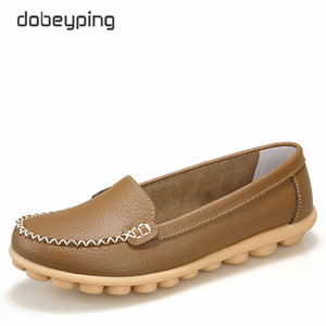 Image 4 - Casual Shoes Women Soft Genuine Leather Womens Loafers Slip On Womans Flats Shoe Low Heel Moccasins Footwear Large Size 35 42