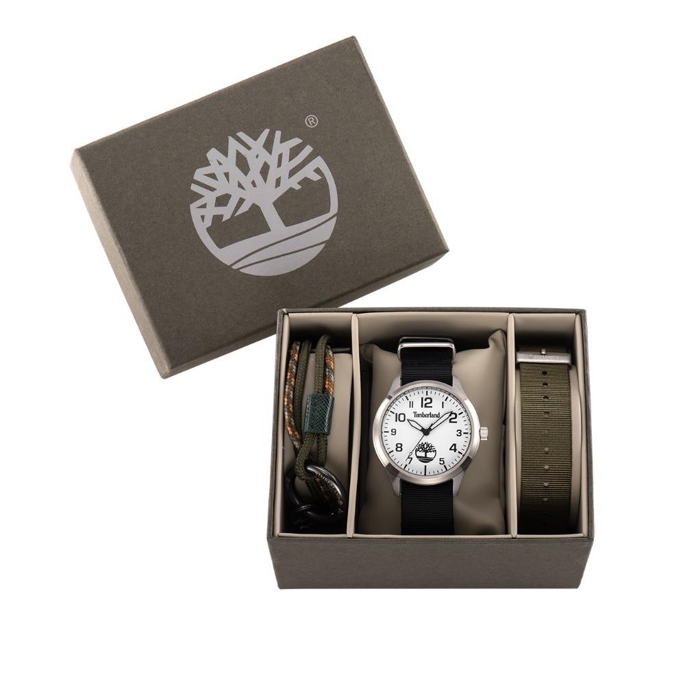 Timberland Original Mens Watches Fashion Casual Quartz Gift Set Top Brand Water Resistant Canvas Black Strap Men Watch T14652