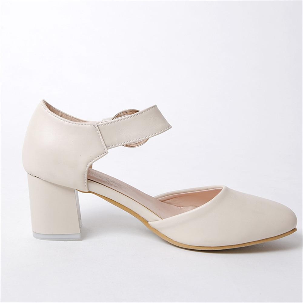 Morazora Doux Printemps Mode Carré Été Bout Talons 2018 Femmes Sport Beige rose Simple Nouveau blanc Chaussures De Boucle Haute Arrivent Pompes 1JlcFK