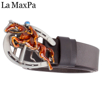 Novelty Male Belt Horse Racing Equestrian Sport Metal Buckle Riding Horse Men Cow Skin Leather Belt