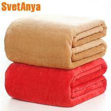 Svetanya Flannel fleece Blanket warm Winter Bedsheet sofa Bedding Throws Solid Color