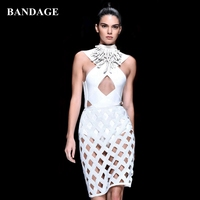 Sexy White knitted Plaid Dress Women Bandage Dresses Hollow Out Celebrity Party Runway Fashion Show Inspired Hole Grid dress