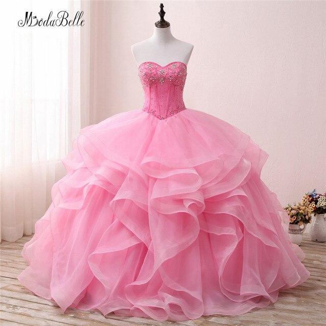 9b01efc52da modabelle Vintage Sweetheart Beaded Ball Gown Quinceanera Dresses Pink  Ruffles Organza Vestidos Debutante Party Dress 2018