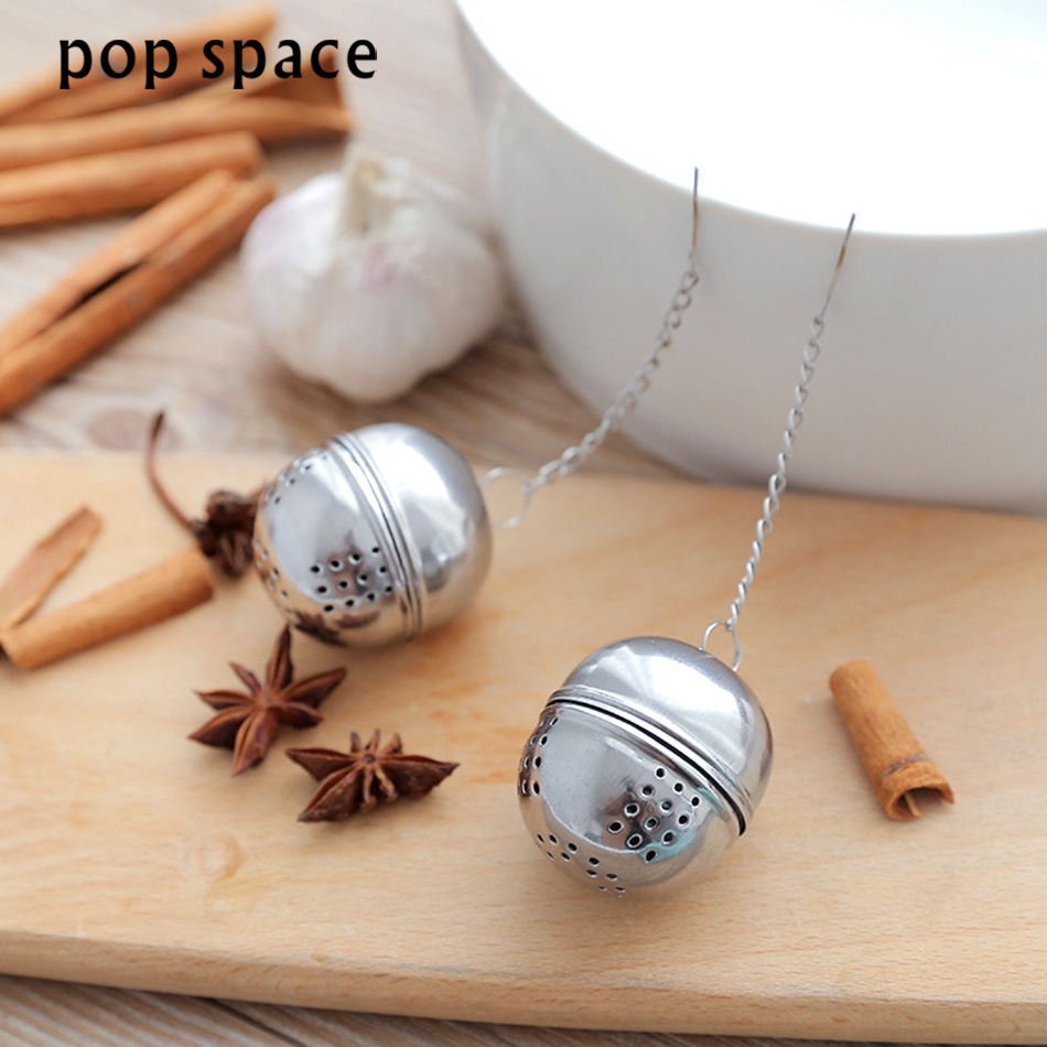 pop space Portable Stainless Steel Tea Strainer Infuser Tea Locking Ball Tea Spice Mesh Herbal Ball Cooking Kitchen Accessories