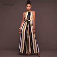 2019 New Sexy One Piece ROMPERS WOMENS JUMPSUIT STRIPED Elegant Long Wide Leg Pants Halter Loose Overalls Party Colorful Summer