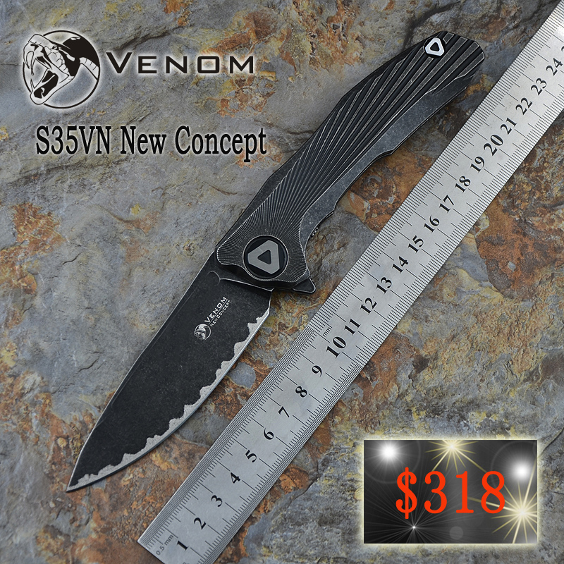 Kevin john VENOM black tungsten carbide steel plate new concept EDC titanium alloy small folding knife S35VN steel tool small to 7 in 1 multifunctional portable tungsten steel knife scissors tool set blue black