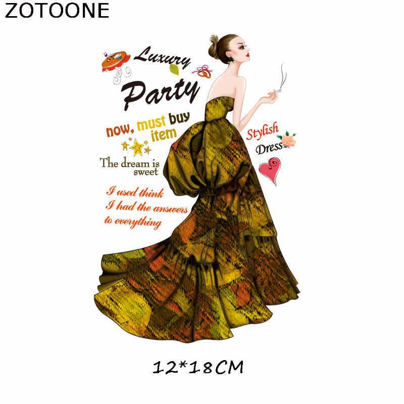 ZOTOONE 의류에 대한 전송 패치에 우아한 레이디 아이언 의류에 대한 DIY 온도 스티커 Fusible 패치 의류 응용 프로그램 E