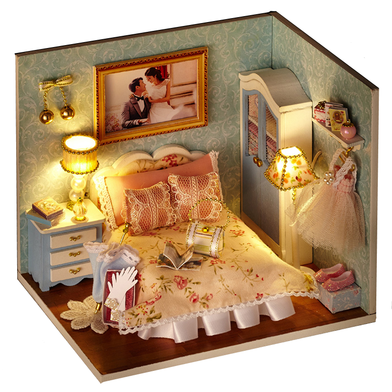 Elegant DIY Model Miniature Dollhouse With Furnitures LED 3D Wooden House Toys Handmade Crafts Gifts For Children H010 #D