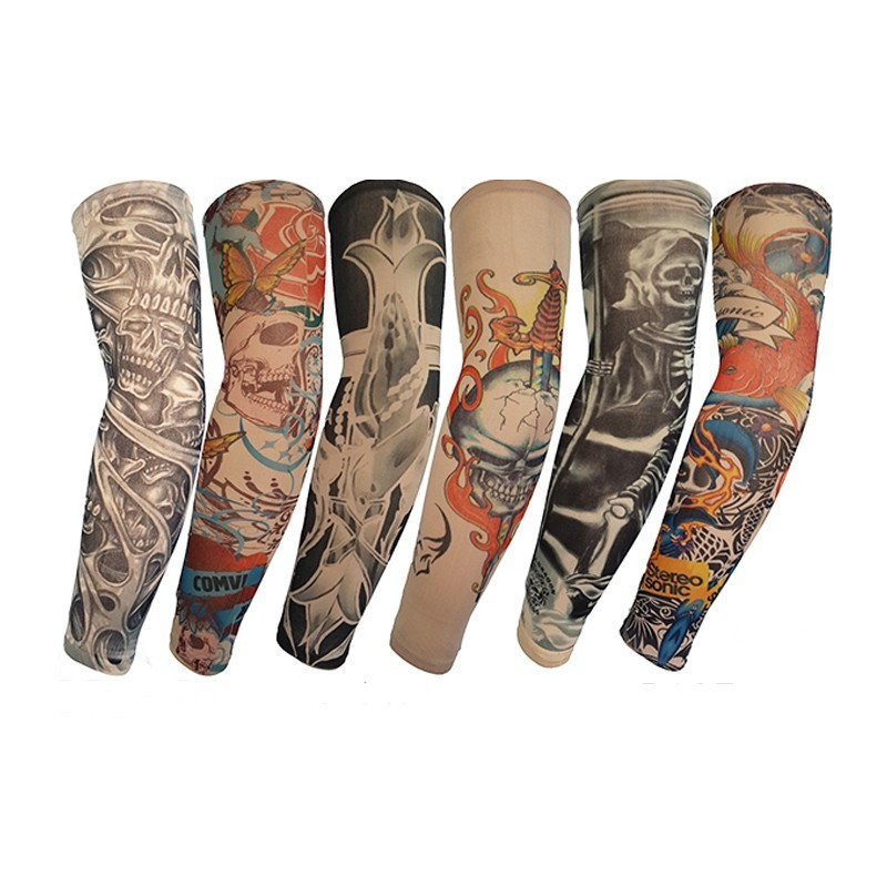 2PC Summer Fake Tattoo Arm Sleeves For Men Fashion Unisex Women Sunscreen Arm Warmers Under T Shirt UV Protection Hip Hop Punk