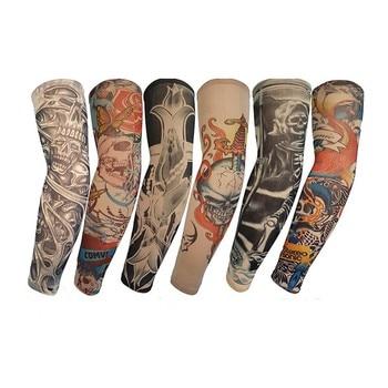 2pcs/lot  Fake Tattoo Arm Sleeves For Men Women Summer Fashion Sunscreen Arm Warmers Under T Shirt UV Protection Hip Hop Punk