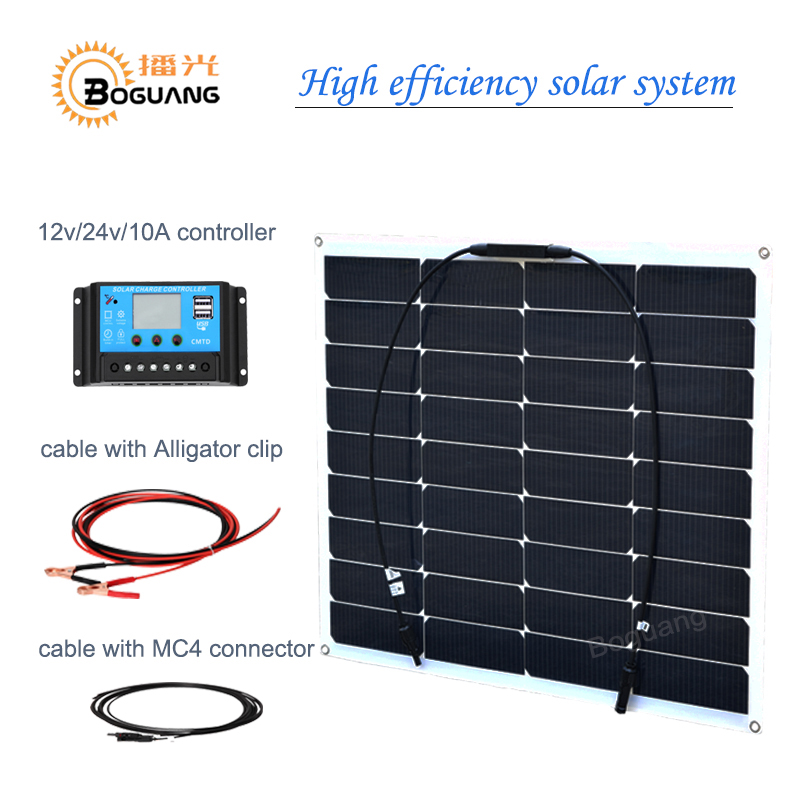Boguang 50w flexible solar panel high efficiency monocrystalline silicon cell 10A controller cable for 12v battery RV yacht car