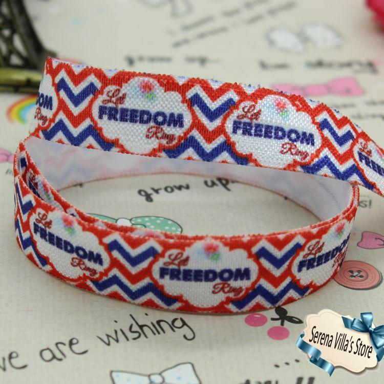 5/8 inch fold over elastic foe 4th printed ribbon 15mm freedom selling birthday gift pak ...
