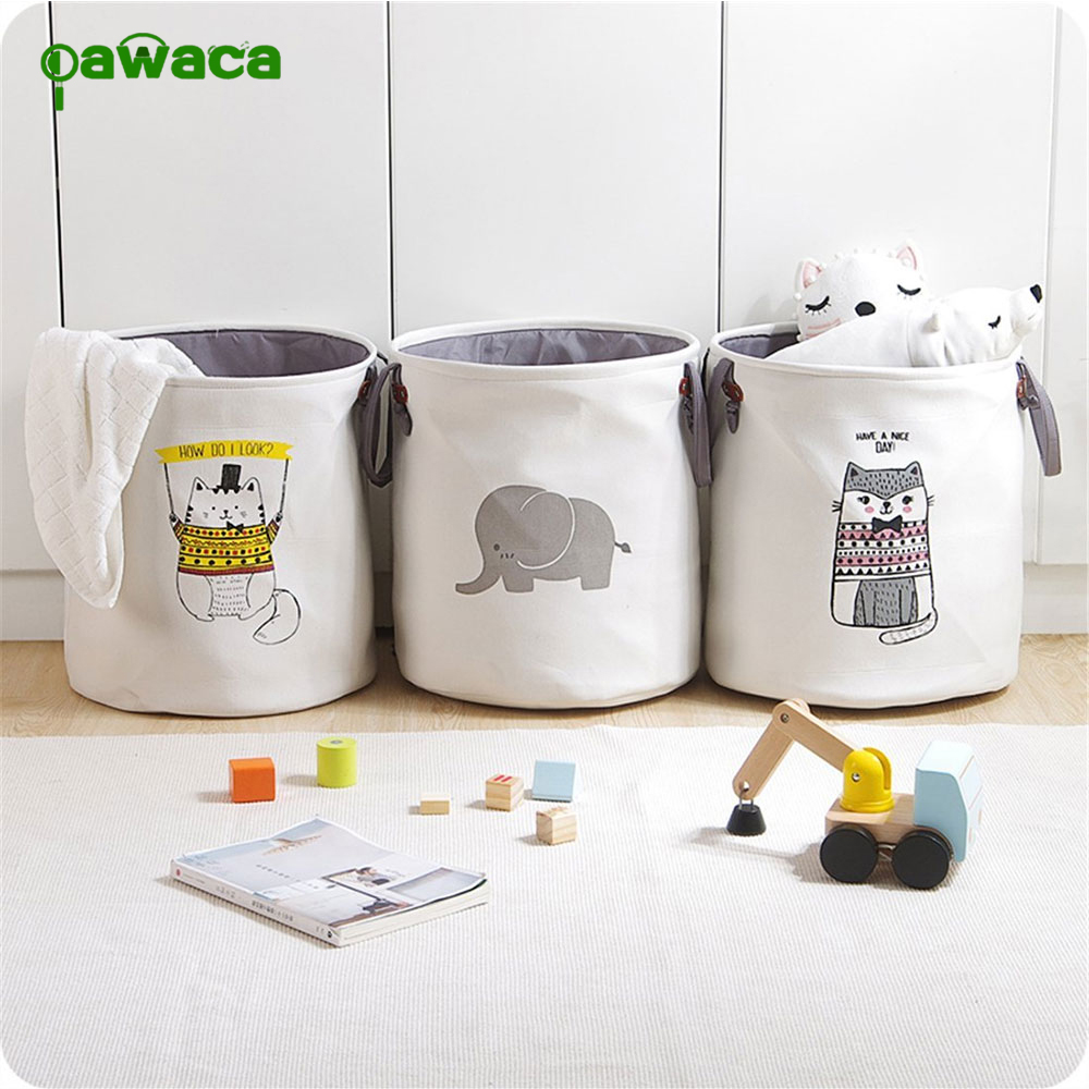 Foldable Round Home Organizer Cotton Storage Baskets Bag for Baby Nursery,Toys,Laundry,Baby Clothing