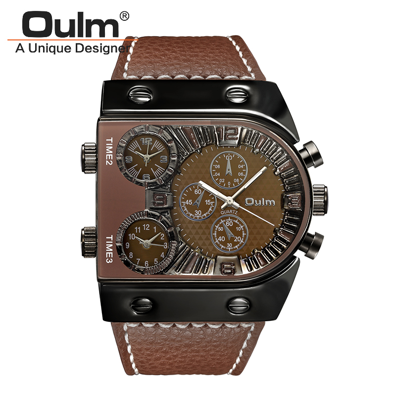 Brand Oulm Watches Mens Quartz Sports Fashion Leather Strap Male Multi-Time Zone Military Relojioes Masculino