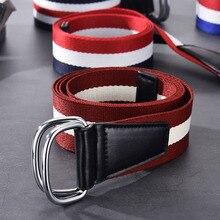 Double Ring Buckle Women Canvas Belt Men Wrap Colorful Stripes Fashion Leather B