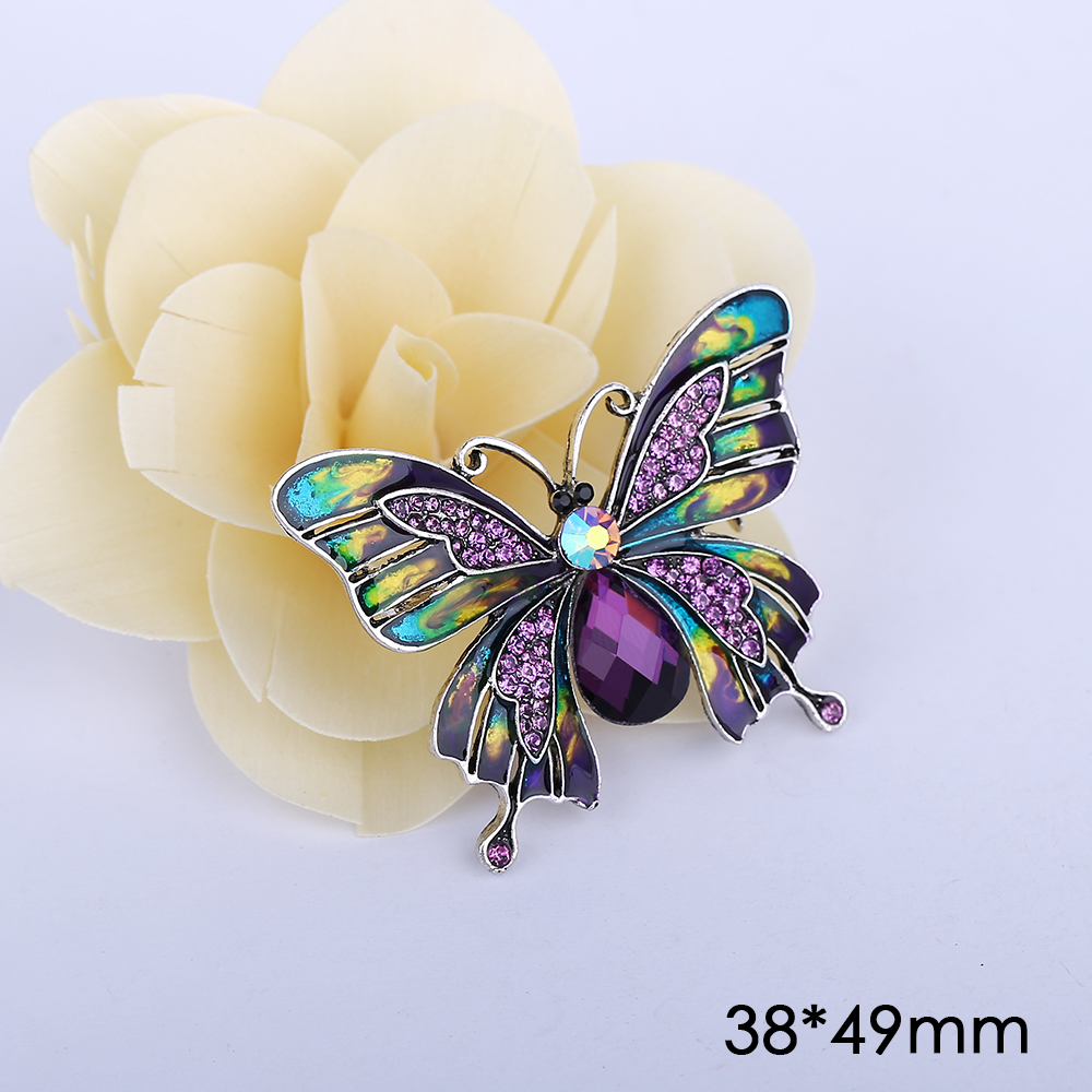 Vintage Brooches Insect Safety Pin Broches bijou Enamel Pins Brooch Butterfly Luxury Rhinestone Brooches for Wedding Bouquets