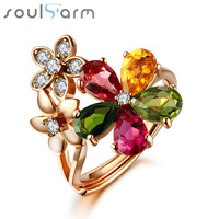100 Real 925 Silver Party Cocktail Ring For Women Jewelry 18K Gold Plated 1 8 Carat