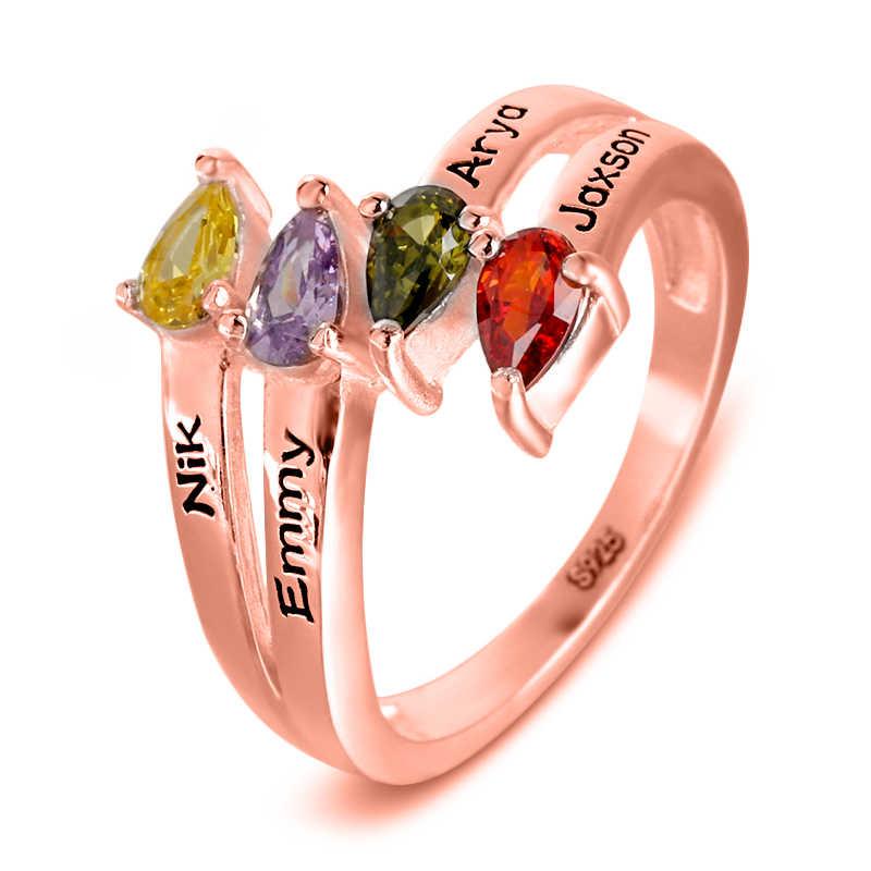 Custom ארבעה לב אבן המזל טבעת חקוק שם 925 כסף טבעת עבור אמא משפחת יום נישואים טבעת # SS50