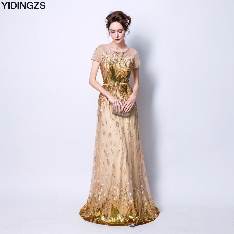 YIDINGZS Short Sleeve Gold Sequin   Prom     Dresses   2018 New Women Fashion Party Eevening   Dress   With Belt