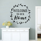Family Design Decor Welcome To Our Home Sign Wall Sticker Home Decoration Front Door Vinyl Decals Round Branch Wall Mural AY1701