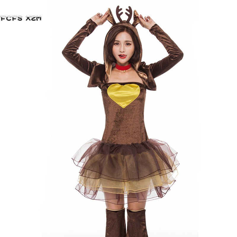 Cute Woman Halloween Reindeer Costumes for Female Christmas Party Animal cosplays Winter pajamas Carnival Purim Masquerade dress