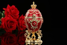 Large Royal Red Imperial Faberge Egg home decor