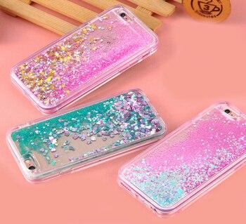 Funda de teléfono amor corazón estrellas brillo estrellas para iPhone 5 5S SE 6 6S 7 Plus X carcasa dinámica líquida arenas movedizas suave TPU