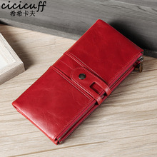 Women Long Wallets Genuine Leather Wallet Red Rfid Blocking Cowhide Purse 2 Fold Large Capacity Clutch Money Bag Luxury Billfold