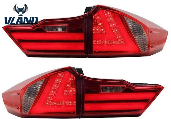 Free shipping Vland Car Styling For Honda City 2014 LED Tail Lights Rear Lamps Tail Lamps BMW Style Factory Wholesale