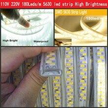 Lo nuevo de 110 V 220 V Cinta LLEVADA 5630 SMD Diodo 180led/m de Navidad Home Hotel Decoración de gama Alta de 5730 Luz de Tira Impermeable de 20 m 50 m 100 m