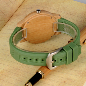 Image 5 - BOBO BIRD Causal Bamboo Watches for Men and Women Bright Silicon Band montre femme plastique