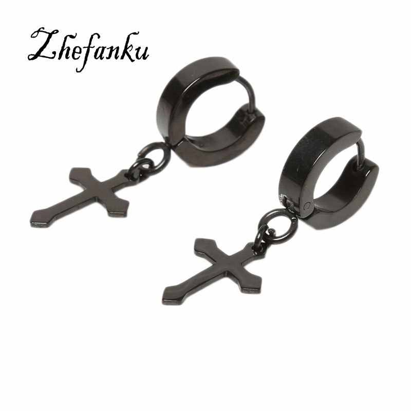 Charming Jewelry Accessories Size 4*9mm Cross Shaped Titanium Steel Woman Ear Clip EAR-0685 1 pcs