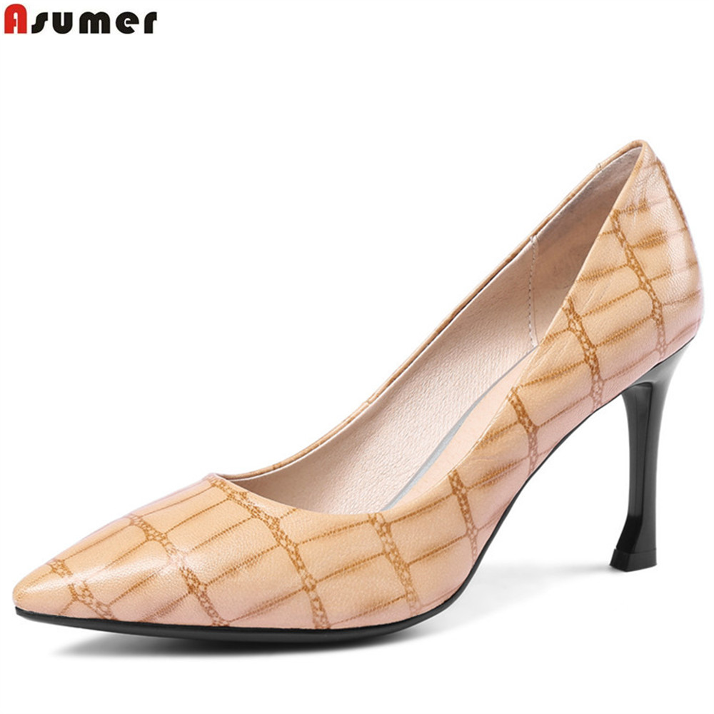 ASUMER black 2018 spring autumn shoes woman pointed toe shallow elegant dress shoes women genuine leather high heels shoes creativesugar elegant pointed toe woman