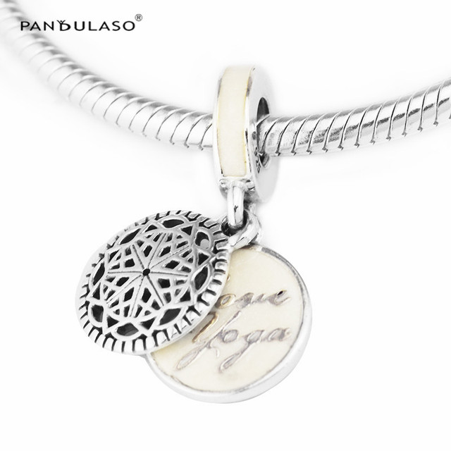 Pandulaso true yoga pendants diy jewelry silver enamel beads for pandulaso true yoga pendants diy jewelry silver enamel beads for jewelry making fit original charms silver mozeypictures Images