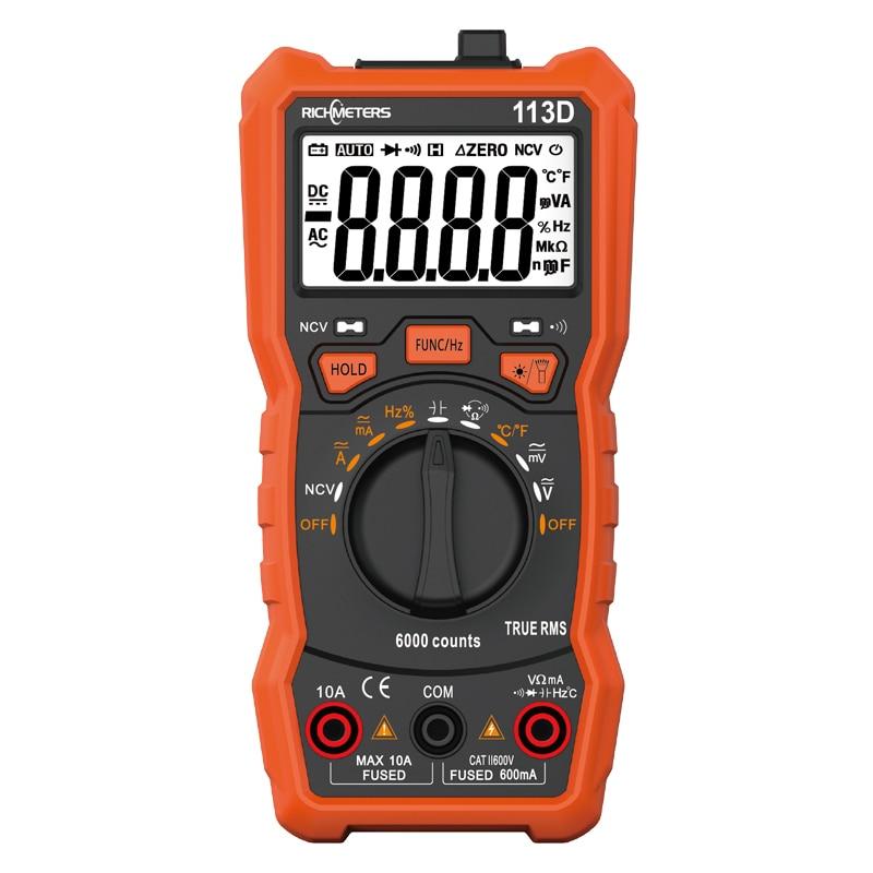 RICHMETERS RM113D NCV Multimetro Digitale 6000 conta Auto Ranging AC/DC tester di tensione Flash di luce luce Posteriore di Grandi Dimensioni Dello Schermo