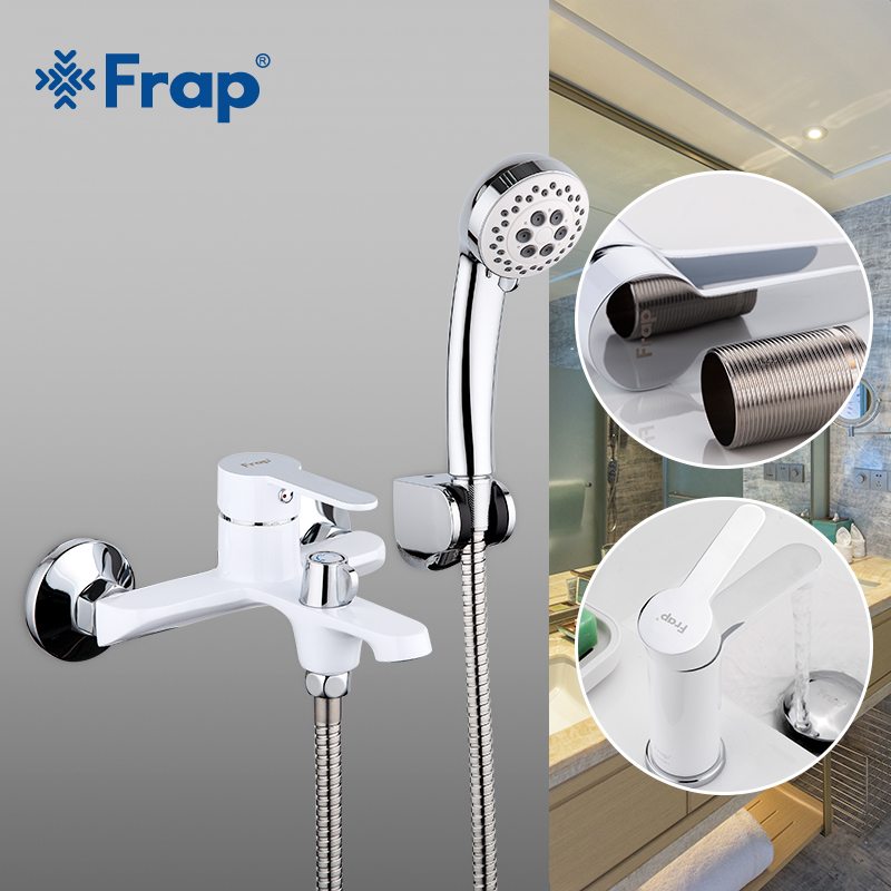 Frap Multi color Bathroom Shower Brass Chrome Wall Mounted Shower Faucet Shower Head sets black white red F3241+1041-in Shower Faucets from Home Improvement    1