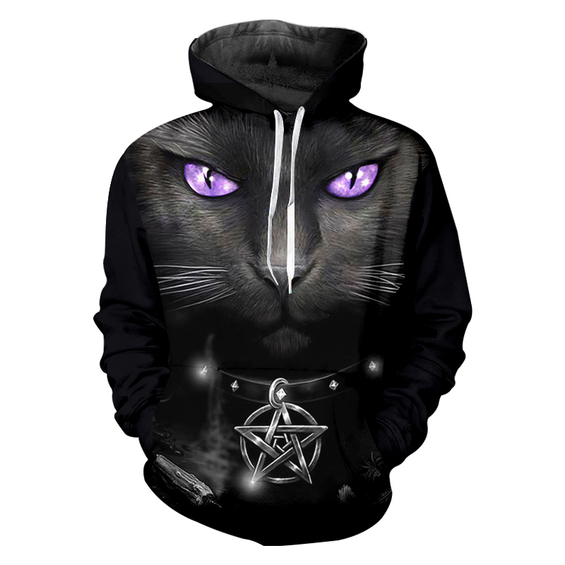 Dropshipping Hoodies Men Cool Print Animal Cartoon Cat With Purple Eyes 3D Sweatshirt Hoodie women Hip Hop Hooded Pullovers