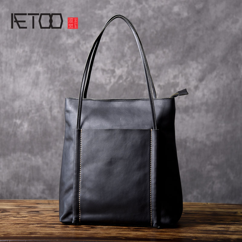 AETOO Original design leather vertical shopping bag womens handbag leather casual simple wild shoulder bag