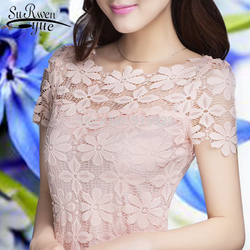 new 2018 fashion lace women shirts blouses Short Sleeve sexy hollow out Womens Clothing  ...