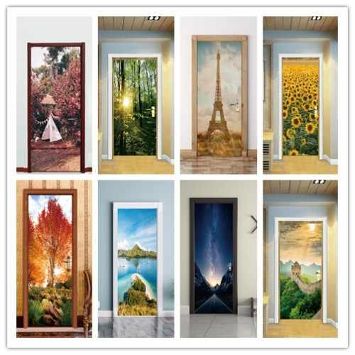 2pcs/set 3D Effect Autumn Maple  Sunflower landscape Door Sticker Sliding Door Wallpaper Wall Sticker Home Bedroom Decorative