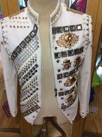 Индивидуальные кристаллы Сияющий этап куртка из бисера костюмы ручной работы со стразами Для мужчин ночной клуб пальто Верхняя одежда певе