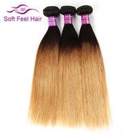 Soft Feel Hair T1B/27 Ombre Straight Hair Bundles Honey Blonde Malaysian Hair Weave Bundles Ombre Remy Human Hair 3 Bundles Deal