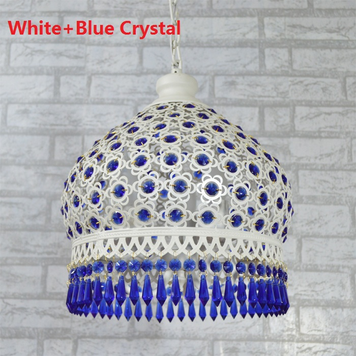 ФОТО Mediterranean Colorful Crystal Pendant Lamp Dining Room Pendente De Teto Kitchen Lights Fixtures Bedroom Hanging Lamp 110V 220V
