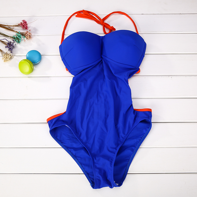 Halter One-Piece Push-Up Swimsuit