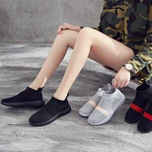 Image 5 - Zapatos de fondo suave para mujer, zapatillas de deporte transpirables de malla antideslizantes informales a la moda