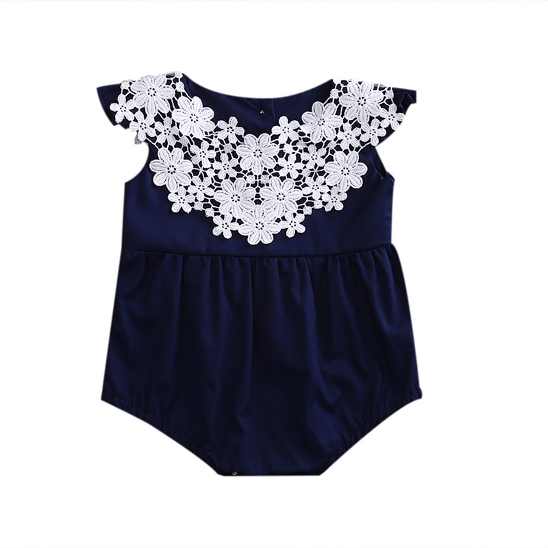 Newborn Infant Baby Girl Navy Blue Romper Jumpsuit Sleeveless Floral Outfit Summer Sunsuit Playsuit Toddler Girl Clothing Outfit infant baby girls romper lace floral sleeveless belt romper jumpsuit playsuit one piece outfit summer newborn baby girl clothes