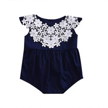 Newborn Infant Baby Girl Navy Blue Romper Jumpsuit Sleeveless Floral Outfit Summer Sunsuit Playsuit Toddler Girl Clothing Outfit(China)