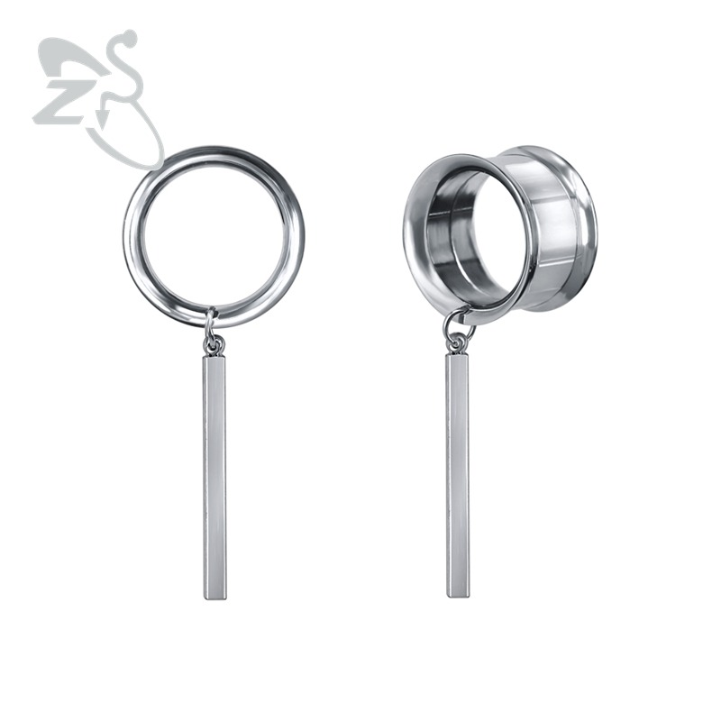 ZS Plugs and Tunnels Stainless Steel Dangle Plug&Tunnel Jewelry Body Piercing Jewelry Screw Ear Gauges 5-22mm Piercing oreille image