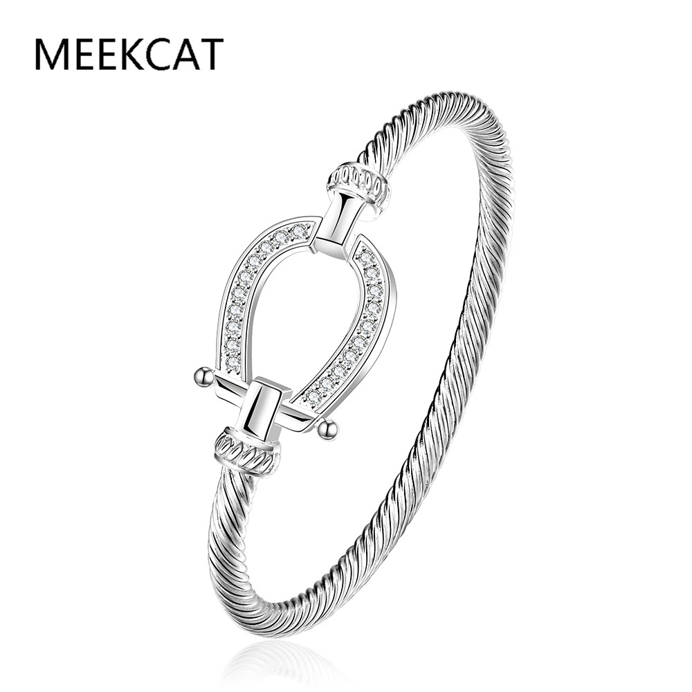 Filled Clear CZ Horse Shoe Bangle water drop Bracelet 925 stamped silver plated fashion jewelry Women Love Valentine's Day Gift
